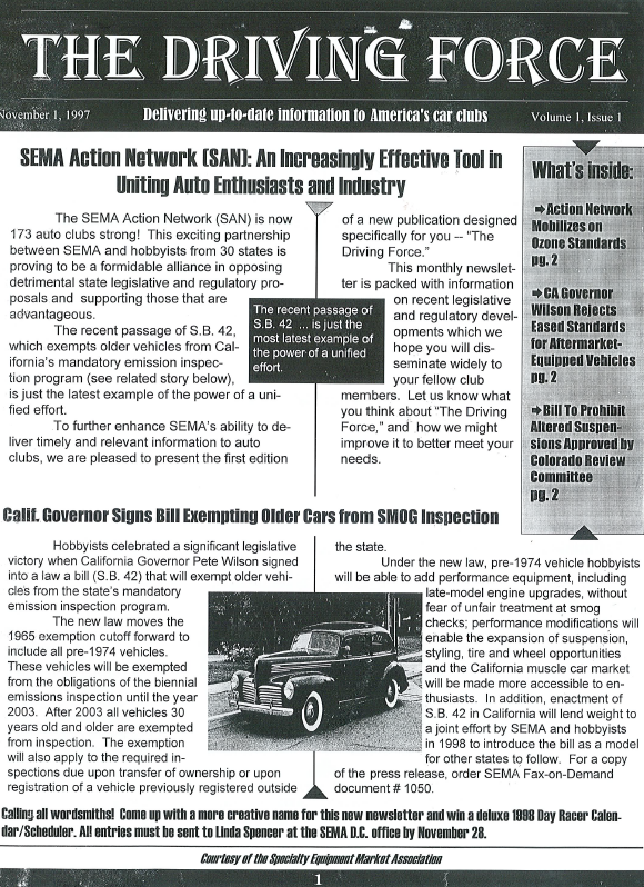 Driving Force Archive: Access all issues of Driving Force, SEMA SAN Action Network